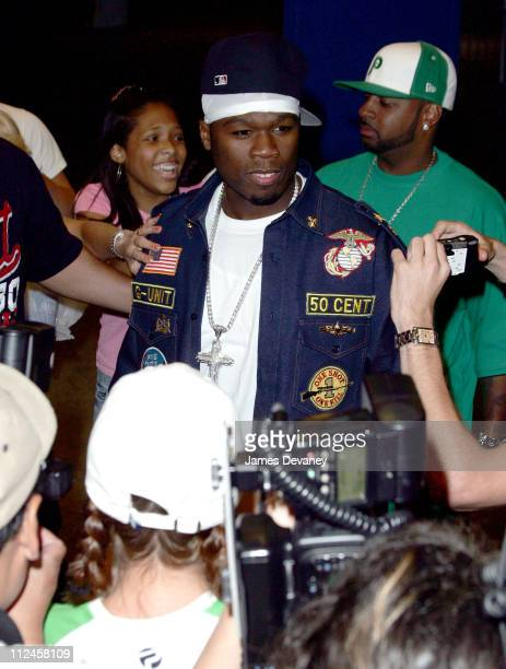 50 Cent during 50 Cent Departs from MTV's 'TRL' August 9 2005 at MTV Studios Times Square in New York City New York United States