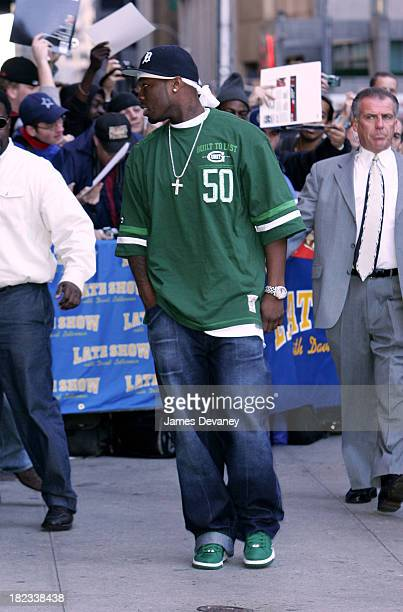 50 Cent during Jennifer Aniston 50 Cent and Rip Taylor Visit the Late Show with David Letterman November 7 2005 at Ed Sullivan Theatre in New York...