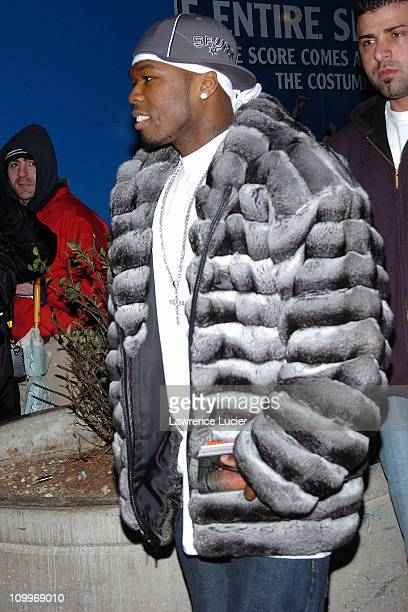 50 Cent during Marc Anthony Jennifer Lopez and 50 Cent Leave MTV's TRL January 19 2005 at MTV Studios in New York City New York United States