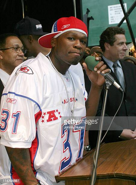 50 Cent during The New York City Hip Hop Summit Rally for the Repeal of the Rockefeller Drug Laws at City Hall in New York City New York United States