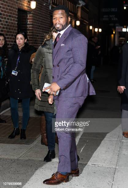 Cent is seen arriving at 'The Late Show With Stephen Colbert' at the Ed Sullivan Theater on January 9 2019 in New York City