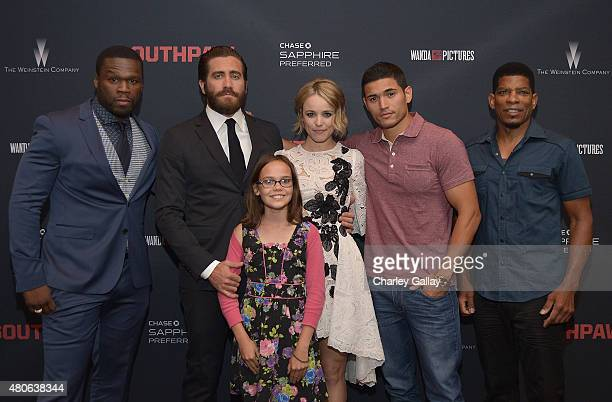 50 Cent Jake Gyllenhaal Oona Laurence Rachel McAdams Miguel Gomez and Terry Claybon attend the ESPN hosted screening of Southpaw at Regal Cinemas LA...