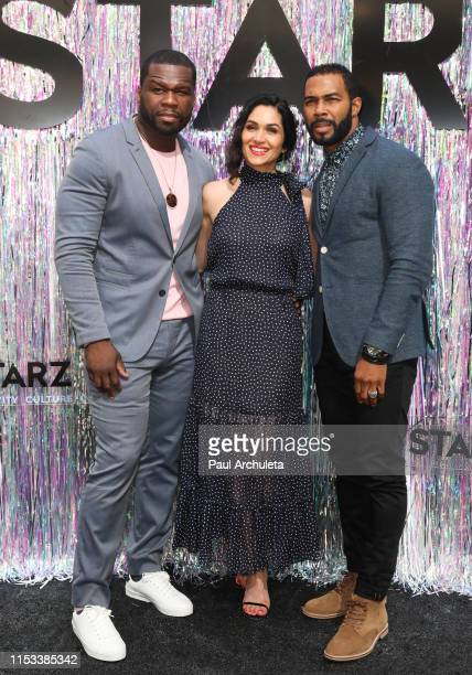 50 Cent Lela Loren and Omari Hardwick attend the Starz FYC Day at The Atrium at Westfield Century City on June 02 2019 in Los Angeles California