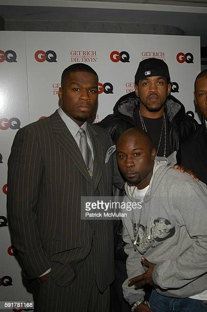 50 Cent Lloyd Banks and Mobb Deep attend Get Rich or Die Tryin screening arrivals at Loews 19th St East Theater on November 7 2005 in New York City
