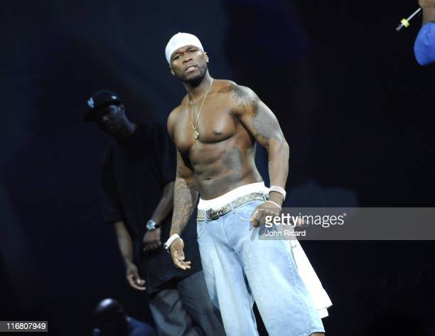 50 Cent onstage at Madison Square Garden in New York City for the Screamfest tour August 22 2007
