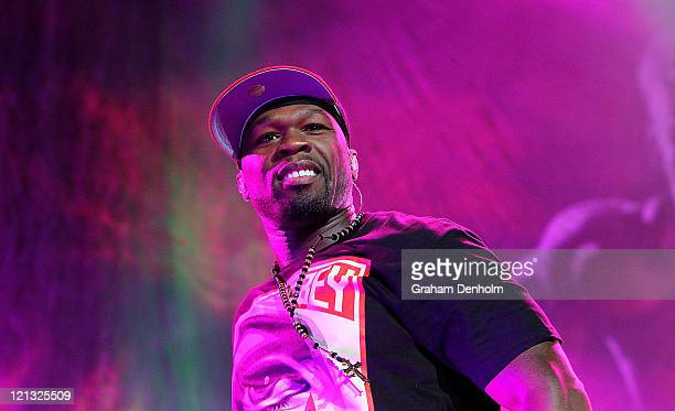 Cent performs on stage during the Winterbeatz Music Festival on August 18 2011 in Melbourne Australia