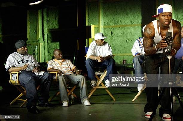 50 Cent TK Kirkland Prodigy and Havoc during Olivia on Location for 'Twist It' Music Video May 20 2005 at Broadway Studios in Brooklyn New York...
