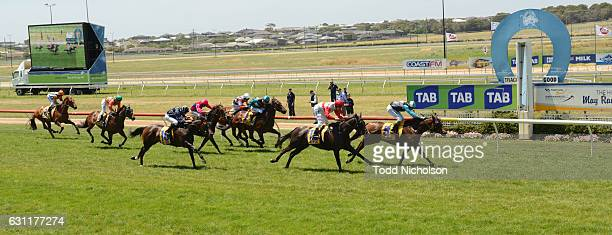 Centafloral ridden by Andrew Mallyon wins Gillear Lime Sandstone Quarries Maiden Plate at Warrnambool Racecourse on January 08 2017 in Warrnambool...