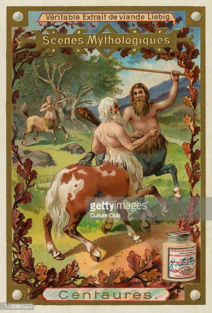 Centaur a member of a composite race of creatures part human and part horse Liebig card Mythological Scenes 1896