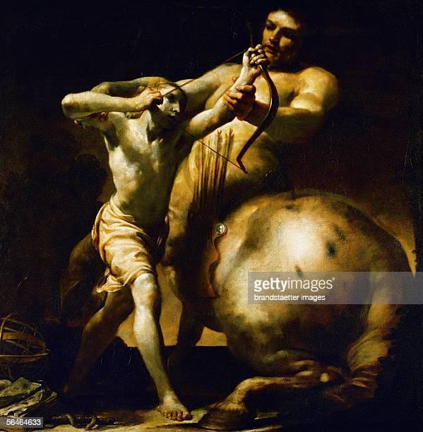 Centaur Chiron teaches young Achill archery Giuseppe Maria Crespi Oil on canvas 1700 [Kentaur Chiron bringt dem jungen Achilles das Bogenschiessen...