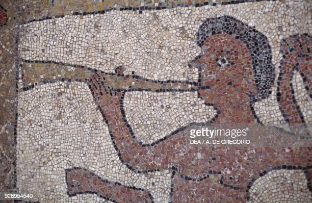 Centaur playing a horn mosaic floor detail Basilica or Cathedral of St Nicholas the Pilgrim 11th13th century Trani Apulia Italy