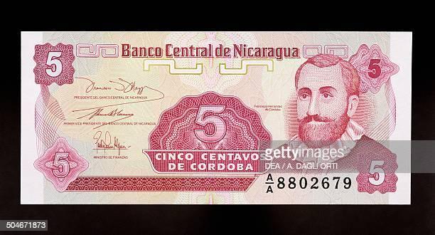 Centavos banknote, 1990-1999, obverse, Francisco Hernandez de Cordoba . Nicaragua, 20th century.