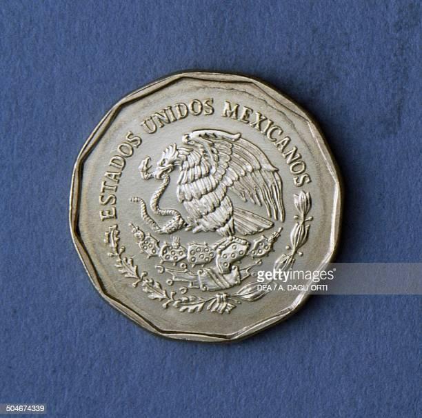 20 centavos coin obverse coat of arms Mexico 20th century