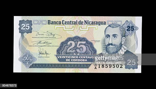 25 centavos de cordoba banknote 19901999 obverse Francisco Hernandez de Cordoba Nicaragua 20th century