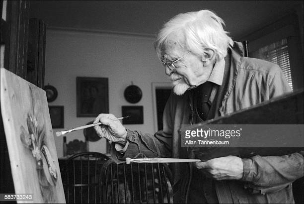 Centenarian artist AP Cole paints a still life in his Chelsea Hotel studio, New York, New York, January 11, 1975.