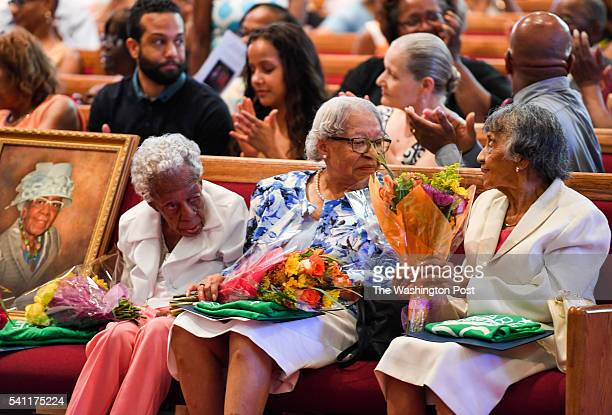 Centenarians Ruth Chatman Hammett Gladys Ware Butler and Bernice Grimes Underwood and a portrait of their friend Leona Barnes who died last month...