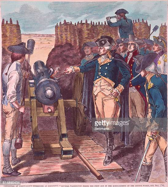 Centenial of Cornwallis's surrender at Yorktown General George Washington firing the first gun in the bombardment of the British works October 9 1781