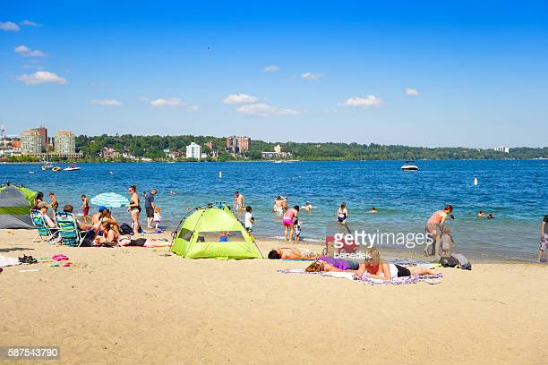centennial park beach in downtown barrie ontario canada - barrie stock pictures, royalty-free photos & images