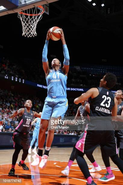 Center Alaina Coates of the Chicago Sky drives to the basket during the game against the Connecticut Sun on August 12 2018 at the Mohegan Sun Arena...