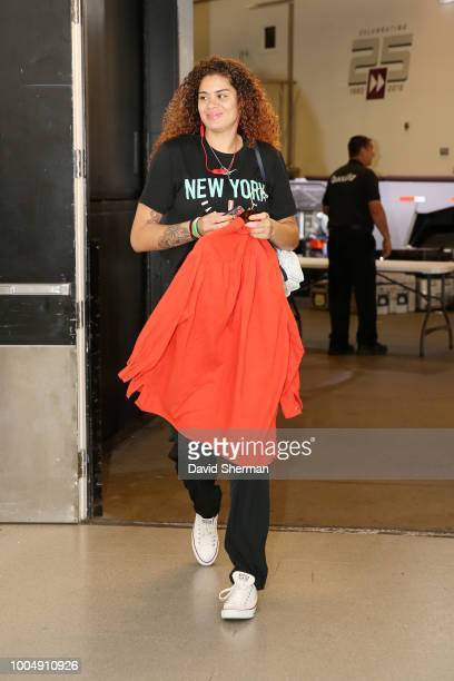 Center Amanda Zahui B #17 of the New York Liberty arrives before the game against the Minnesota Lynx on July 24 2018 at Target Center in Minneapolis...