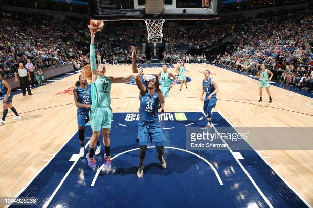 Center Amanda Zahui B #17 of the New York Liberty drives to the basket during the game against the Minnesota Lynx on July 24 2018 at Target Center in...