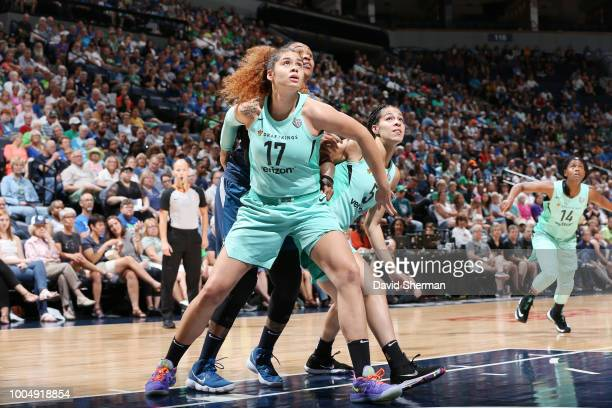 Center Amanda Zahui B #17 of the New York Liberty jocks for a position during the game against the Minnesota Lynx on July 24 2018 at Target Center in...