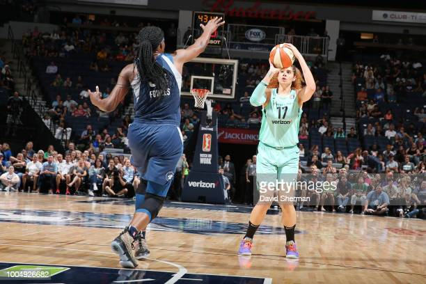 Center Amanda Zahui B #17 of the New York Liberty shoots a threepointer to tie the game at 80 in the fourth quarter against the Minnesota Lynx on...