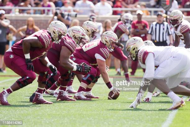 Center Andrew Boselli and the Florida State offensice line lines up during the Florida State Garnet vs Gold Spring Game at Bobby Bowden Field at Doak...