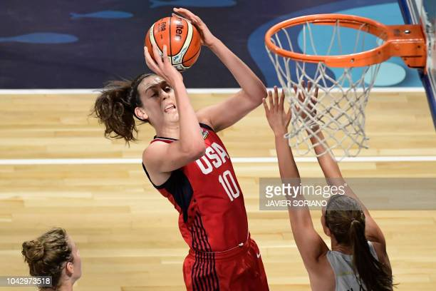 US' center Breanna Stewart vies with Belgium's forward Antonia Delaere during the FIBA 2018 Women's Basketball World Cup semifinal match between...