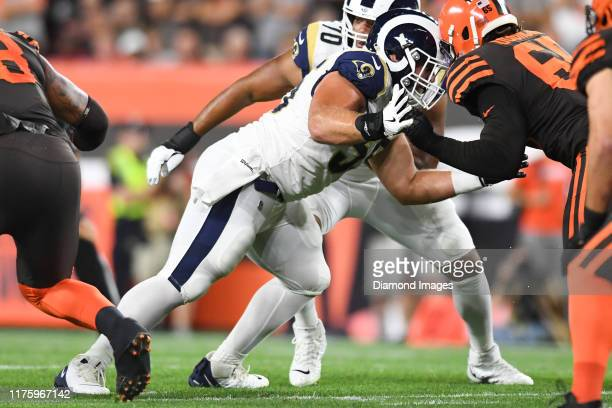 Center Brian Allen of the Los Angeles Rams blocks defensive tackle Larry Ogunjobi of the Cleveland Browns in the first quarter of a game on September...