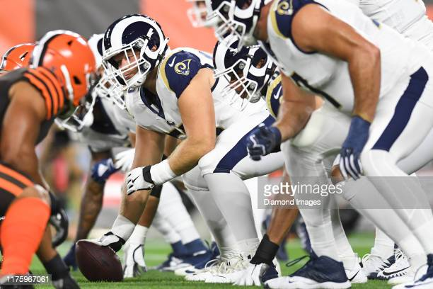 Center Brian Allen of the Los Angeles Rams waits for the snap cal in the first quarter of a game against the Cleveland Browns on September 22 2019 at...