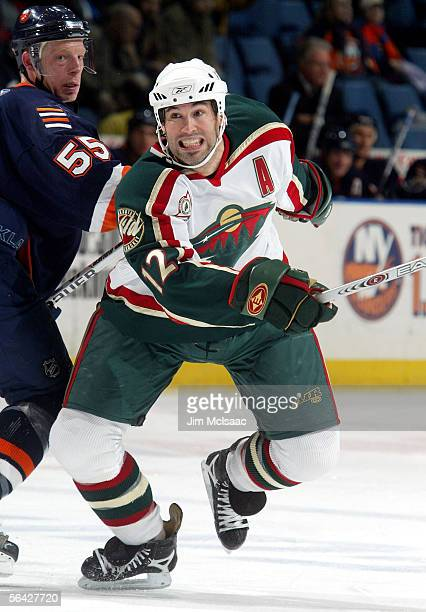 Center Brian Rolston of the Minnesota Wild skates against the New York Islanders on December 13, 2005 at Nassau Coliseum in Uniondale, New York.