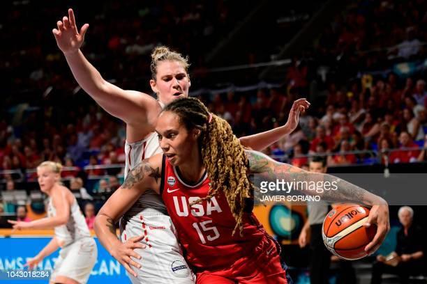 Center Brittney Griner vies with Belgium' center Kyara Linskens during the FIBA 2018 Women's Basketball World Cup semifinal match between Belgium and...