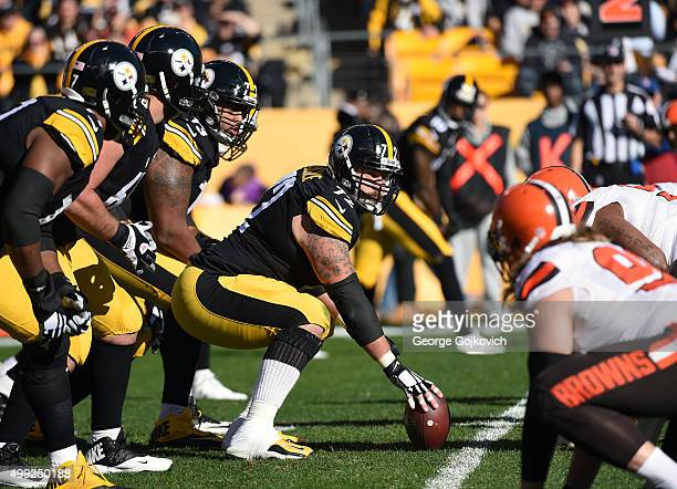 Center Cody Wallace of the Pittsburgh Steelers looks across the line of scrimmage as offensive linemen Marcus Gilbert David DeCastro and Ramon Foster...