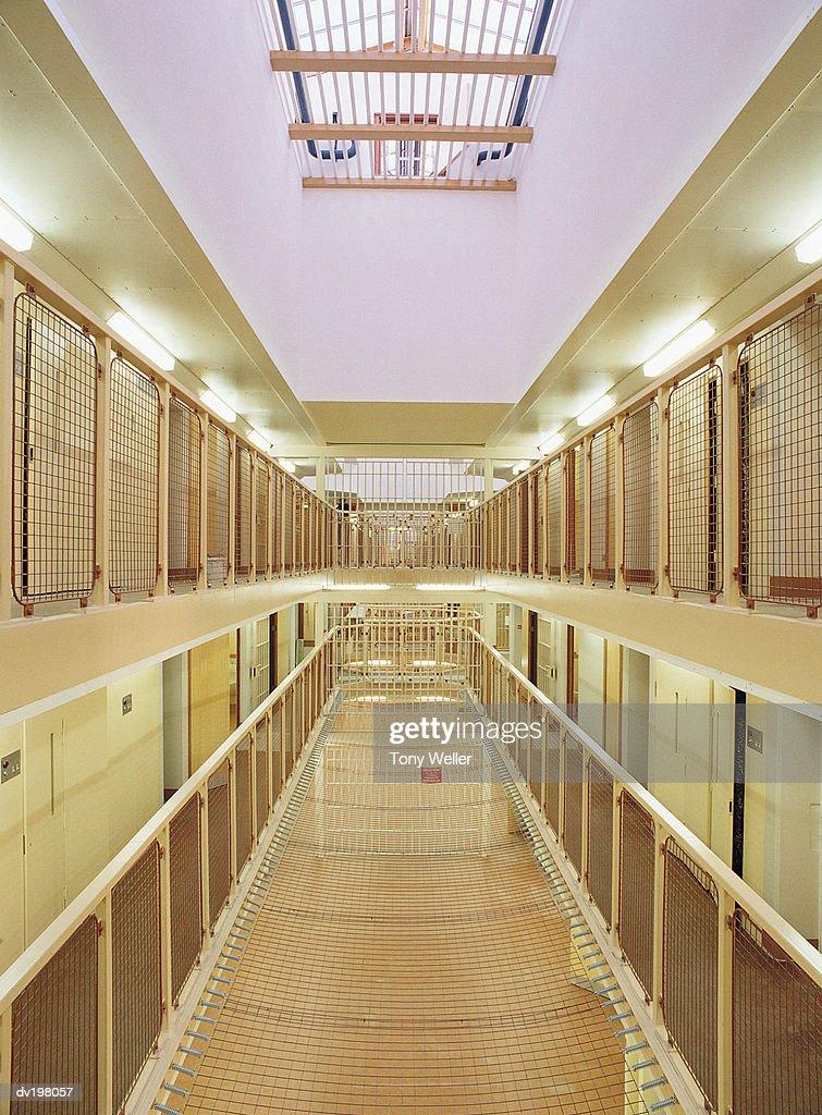 Center corridor in jail : Stock Photo