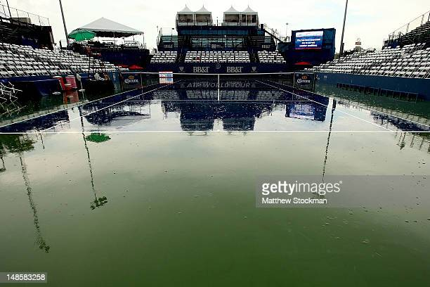 Center court as play is suspended due to rain during the BB&T Atlanta Open at Atlantic Station on July 18, 2012 in Atlanta, Georgia.