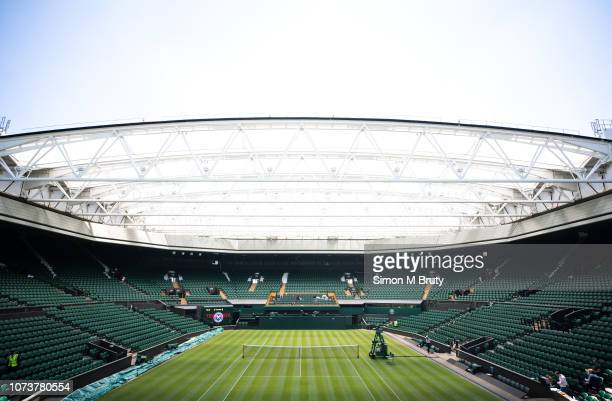 Center court being prepared for The Wimbledon Lawn Tennis Championship at the All England Lawn Tennis and Croquet Club at Wimbledon on June 29th 2018...