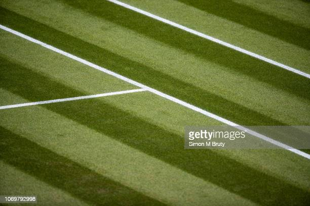 Center court during The Wimbledon Lawn Tennis Championship at the All England Lawn Tennis and Croquet Club at Wimbledon on July 6th, 2018 in London,...