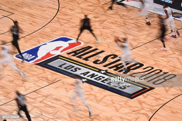 Center court logo during the NBA AllStar Game as a part of 2018 NBA AllStar Weekend at STAPLES Center on February 18 2018 in Los Angeles California...
