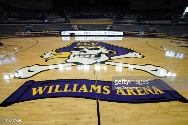 Center court logo for Williams Arena during a game between the Connecticut Huskies and the East Carolina Pirates on February 29, 2020 at Williams...