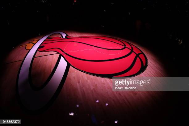 Center court seen before the game between the Philadelphia 76ers and the Miami Heat in Game Three of Round One of the 2018 NBA Playoffs on April 19...