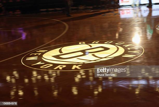 Center court sports a projected Brooklyn Nets logo prior to the game against the Los Angeles Clippers at the Barclays Center on November 23 2012 in...