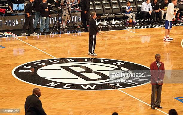 Center court sports the Brooklyn Nets logo prior to the game against the Los Angeles Clippers at the Barclays Center on November 23 2012 in the...