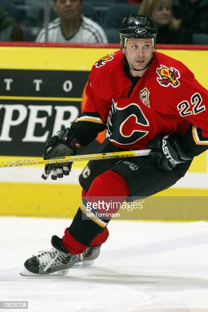 Center Craig Conroy of the Calgary Flames skates on the ice during the game against the Montreal Canadians at Pengrowth Saddledome on November 20...