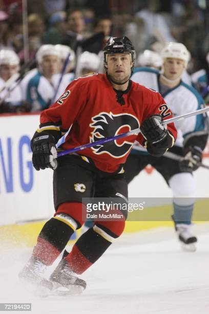 Center Daymond Langkow of the Calgary Flames skates during the NHL game against the San Jose Sharks at Pengrowth Saddledome on October 9 2006 in...