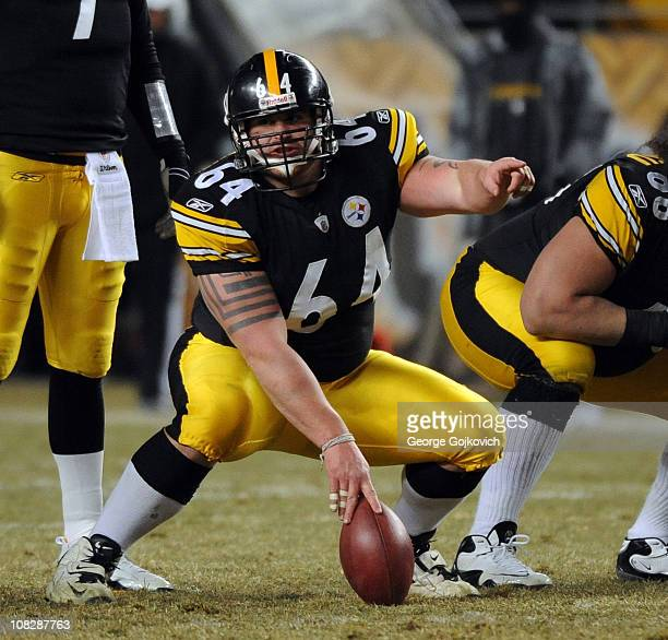 Center Doug Legursky of the Pittsburgh Steelers signals at the line of scrimmage during the 2011 AFC Championship game against the New York Jets at...