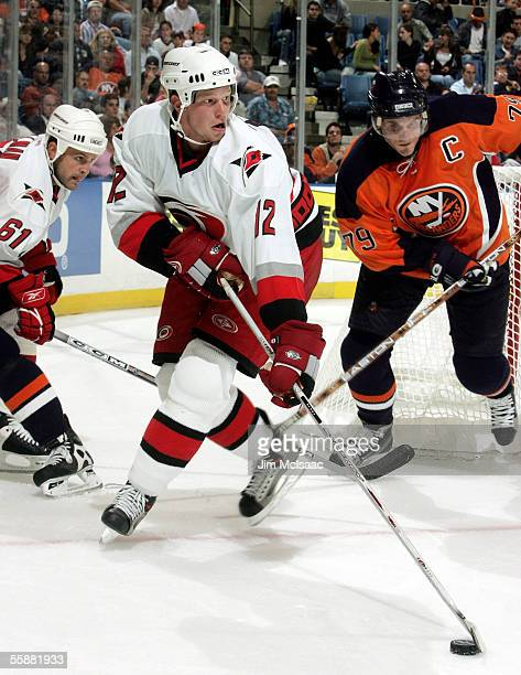 Center Eric Staal of the Carolina Hurricanes controls the puck against the New York Islanders October 8, 2005 at Nassau Coliseum in Uniondale, New...