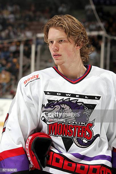 Center Eric Staal of the Lowell Lock Monsters looks on before the start of the American Hockey League All Star Skills Competition on February 13 2005...