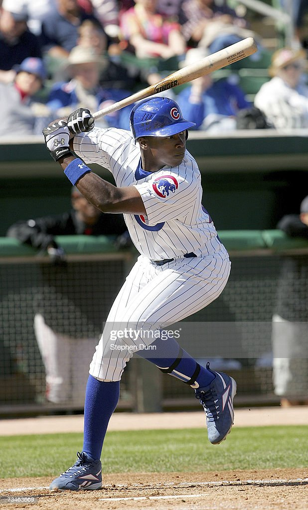 Center fielder Alfonso Soriano #12 of the Chicago Cubs bats against the San Francisco Giants during Spring Training on March 1, 2007 at Hohokam Park in Mesa, Arizona.