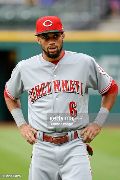 Center fielder Billy Hamilton of the Cincinnati Reds looks on prior to a game against the Cleveland Indians at Progressive Field on July 24, 2017 in...